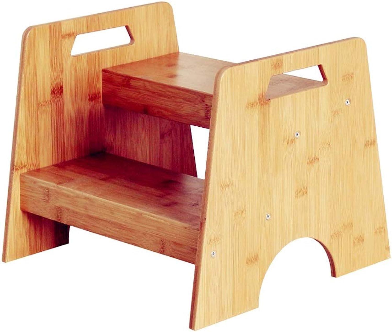 YKQ Step Hocker - Für Kinder 33cm Heigh Wash Bambus Badezimmer Küchenregal - 2 Step