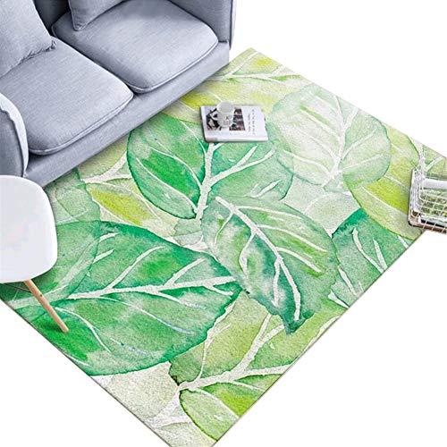 HomeMiYN - Alfombra de Terciopelo de Cristal, Suave, Duradera, diseño Floral, Antideslizante, para salón y Dormitorio, Polipropileno, Verde Claro, 120 * 160cm (3.94 * 5.25 ft)