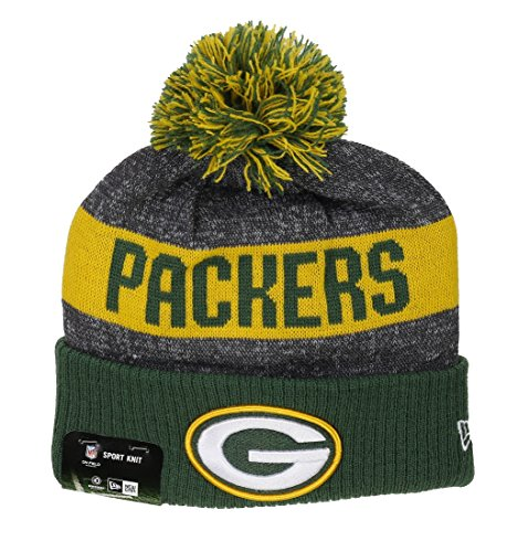 New Era Green Bay Packers - Beanie - NFL Sideline Bobble - Grey/Green/Yellow - One-Size