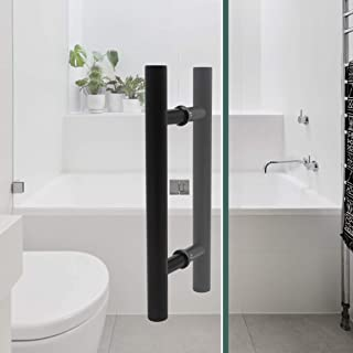 12'' Total Length Black Stainless Steel Bar to Bar Door Handle Set Two Sided Sliding Door Pulls 7.4 inch Hole Centers