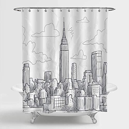 Aliyz NYC Skyline Duschvorhang-Set skizzenhaftes New Yorker Wahrzeichen Empire State Wolkenkratzer Skyline Scenic Artwork modernes Badezimmer Dekor schwarz weiß 72