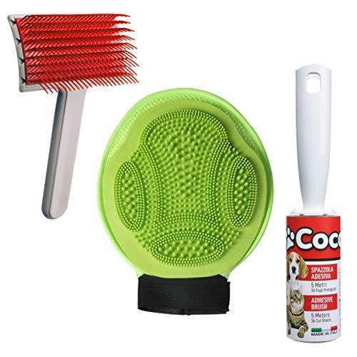I.P.P.A. Guante cardador para eliminar el pelo superfluo. Cepillo adhesivo. Perro gato conejo. Limpieza de cerdo y animales domésticos