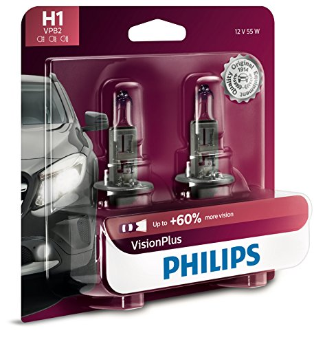 Philips H1 Lámpara delantera Premium Vision Plus, paquete de 2