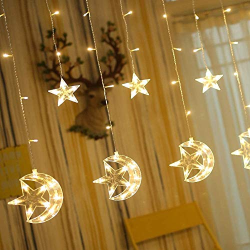 Twinkle Star 138 LED Star Moon Curtain String Lights, Window Curtain Lights with 8 Flashing Modes Ramadan Decoration Christmas Wedding, Party, Home, Patio Lawn Decorations, Warm White