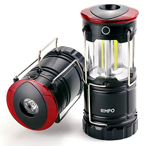 EMPO LED Camping Laterne für den Außenbereich und Notfälle - Ultra hell, langlebig, und komplett zusammenklappbar - Magnetische Laterne, Notfall-Leuchte und Blinklicht in Einem - Olivegrün 2Stück