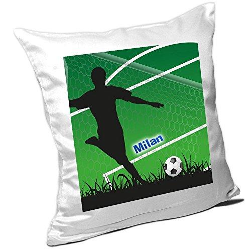 Kissen mit Namen Milan und schönem Fußballer-Motiv für Jungs - Namenskissen personalisiert - Kuschelkissen - Schmusekissen
