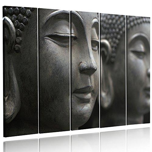 Feeby Frames, Cuadro en lienzo - 5 partes - Cuadro impresión, Cuadro decoración, Canvas (BUDA GRIS) 200x100 cm, Tipo C