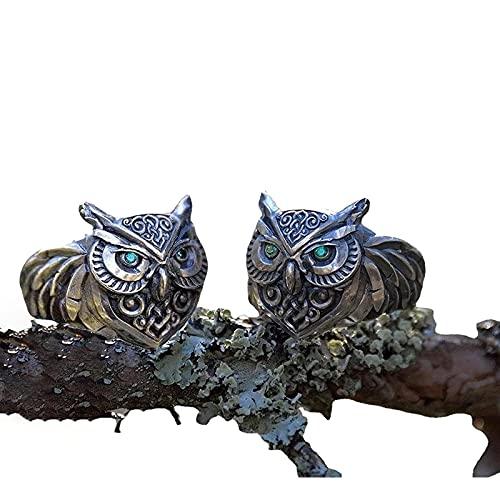 Anillo De Piedras Preciosas De Ojos Verdes De BúHo, Anillo De Piedras Preciosas De Ojos Verdes De BúHo De Plata úNico para Hombres Punk, Anillo De BúHo Vintage, Anillo De Hip Hop 2pcs 9
