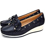 Zapatos Planos Comodos Náuticos Mujer - Mocasín Cuero de Imitación para Mujer, la Mejor Opción para Caminar y Usar, Zapatos cuña Casuales, Adecuados para Todas Las Estaciones F041-BLACK-40