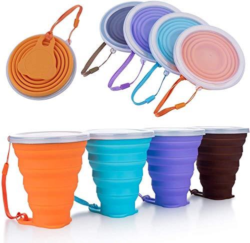 DEHUB Faltbare Tasse Silikon, Versenkbare Zusammenklappbare Reisebecher, 270ml Leichtbecher mit Größerem Fassungsvermögen für Camping-Wanderungen Im Freien (Mehrfarben 01, 4)