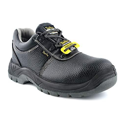 TIESTRA Botas de Trabajo con Punta de Acero Impermeables, S3 SRC Botas de Seguridad, Calzado de protección para Hombre, Piel, Negra, Comodidad, EU43