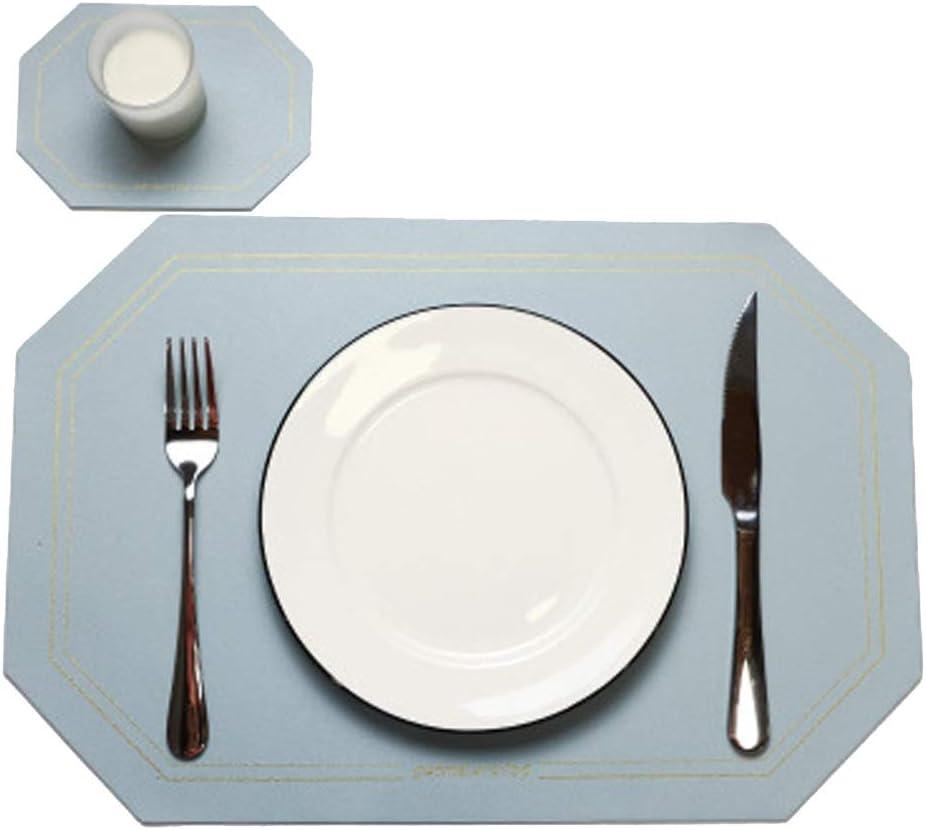 Color : Brown, Taille : Set of 2 Orumrud Lot de 2 Sets de Table et Dessous de Verre Cuir PU PVC Antid/érapant Respectueux de lenvironnement Napperon Lavables Napperons PVC Set De Table