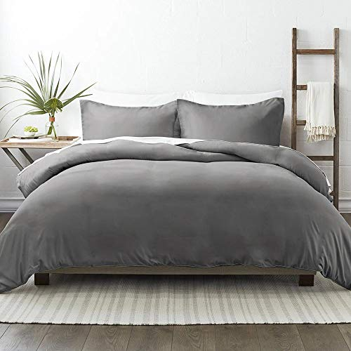 NIERBO Newest 120g/㎡ Duvet Cover Set 3 PCS King Size Bed with Zipper Closure Duvet Cover 220x230cm with 2 Pillowcases 50x75cm Grey Microfiber