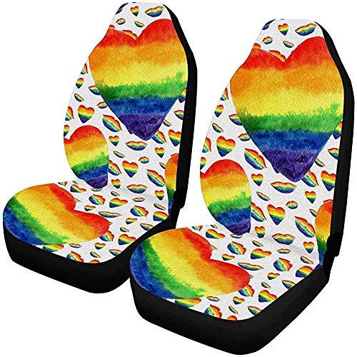 Drew Tours Acquerello Colori arcobaleno Lip Kiss Gay Lesbian LGBT Car Seat Protector 2 pezzi, adatto per la maggior Parte dei veicoli, Auto, berline, camion, SUV