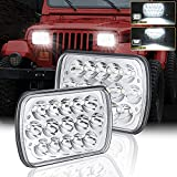 7x6 Led Headlights Dot Approved 2Pcs Rectangle 5x7 Headlights H6054 H5054 Headlamp Hi/Low Sealed Beam H4 9003 Compatible with Chevy Blazer Express Van/Jeep Wrangler YJ XJ Cherokee Truck Ford Van
