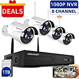 SMONET Wireless Security Camera System,1080P 8 Channel Video Security System(1TB Hard Drive),4pcs 960P(1.3 Megapixel) Indoor/Outdoor Wireless IP Cameras,65ft Night Vision,P2P,Free APP