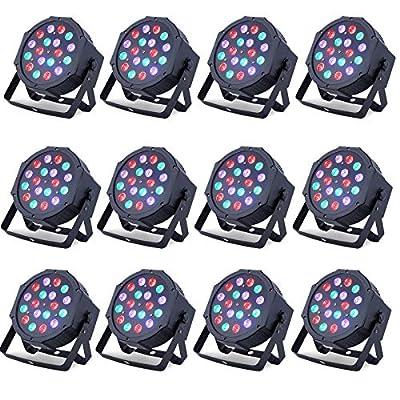 12 Pack LED DMX Stage Lights Par Can Light Uplighting 18X1Watt LEDs RGB Lighting Modes DMX Light Controlled Sound for Club Party Show DJ Church Diso KTV