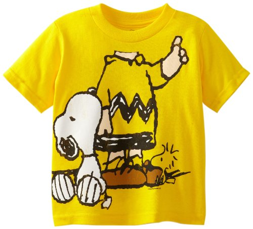 Peanuts Little Boys' Toddler Short Sleeve T-Shirt, Yellow, 3T