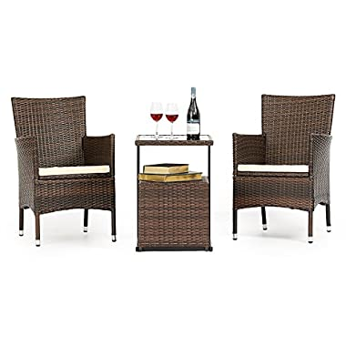 LAHAINA 3 Piece Wicker Bistro Set - All Weather Outdoor Dining Chairs Set of 2 & C Shaped Side Table W/Portable Storage | Incl. Zippered Seat Cushion & Necessary Tools