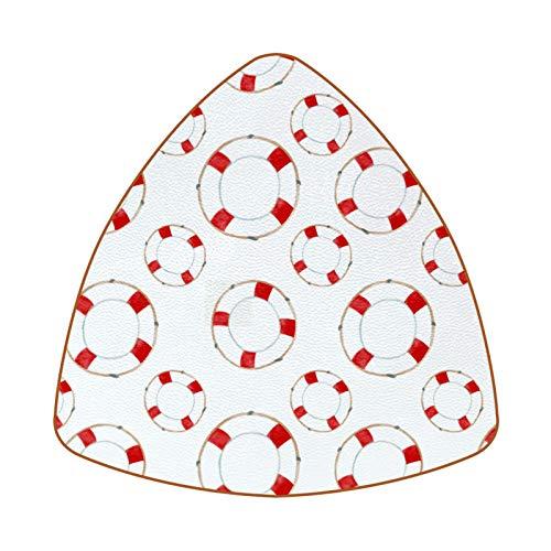 Dreieckige Untersetzer für Getränke, roter Rettungsring aus Leder, zum Schutz von Möbeln, hitzebeständig, für Küche, Bar, Dekoration, 6 Stück