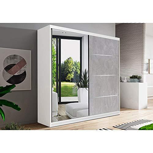 E-MEUBLES Armoire de Chambre avec 2 Portes coulissantes 1 Porte avec Miroir | Penderie (Tringle) avec étagères (LxHxP): 183x218x61 Beton (Blanc)