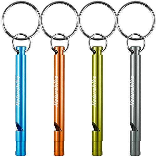 Aluminio Silbatos, FineGood 4 Pack Silbatos Supervivencia Emergencia con Cadena Anillos para Árbitro Deportes Caminata Escalada Camping
