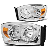 Pair Chrome Housing Amber Side Front Bumper Driving Headlight Lamps for 06-09 Dodge Ram Truck