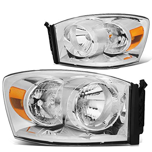 Pair Chrome Housing Amber Side Front Bumper Driving Headlight Lamps Replacement for 06-09 Dodge Ram Truck