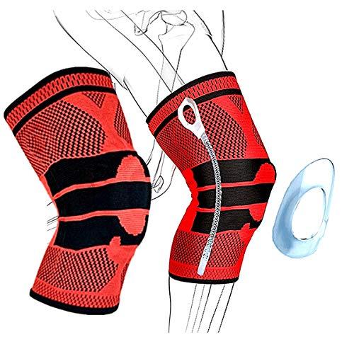 [TradeWind] 膝サポーター スポーツ全般 医療用 3D立体編み シリコン滑り止め 高齢者 怪我防止 ランニング テニス 登山(赤M 2枚セット)