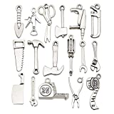 WOCRAFT 50pcs Wholesale Bulk Lots Alloy Home Tool Charms for Jewelry Making Mixed Smooth Tibetan Silver Metal Charms Pendants DIY for Jewelry Making Necklace Bracelet and Crafting (M351)