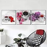 XIANRENGE Leinwanddrucke,3 Panel Tee Rose Blume Lavendel