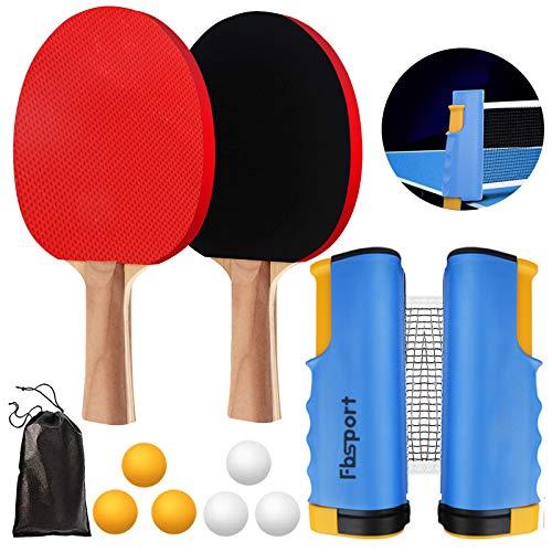 FBSPORT Sets de Ping Pong, Palas Ping Pong Set, Professionales 2 Raquetas, 6 Pelotas, 1...