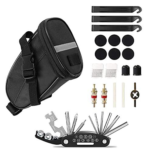 RANJIMA Juego de herramientas 16 en 1 para reparación de bicicletas,práctico juego de herramientas para reparación de bicicletas,herramienta multifunción con bolsa para sillín de bicicleta de montaña