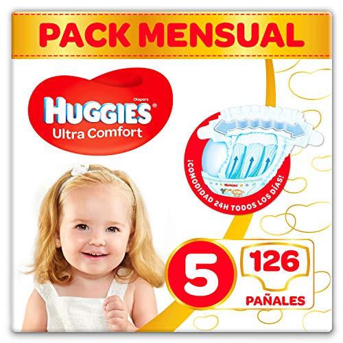Contenido del paquete mensual: 126 pañales,Pañal talla 5: desde 11 kg hasta 25 kg,con cintura elástica que se adapta al cuerpo del bebé,Forma anatómica, más estrechos entre las piernas para mayor comodidad del bebé,Absorbe en segundos gracias a su tecnología Dry Touch