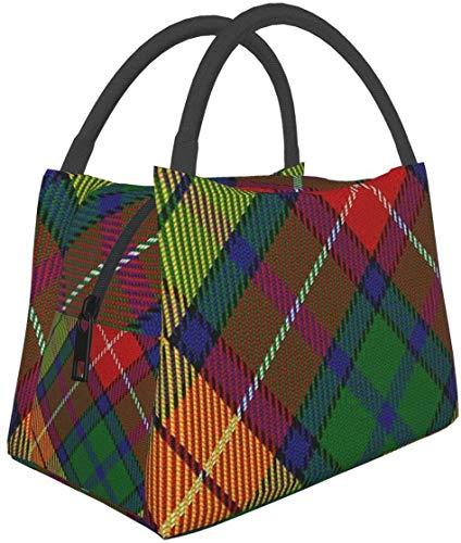 Estilo escocés Clan Carmichael Tartan Plaid Lunch Bag Aislado Lonchera Cooler Tote Bag para mujeres-1