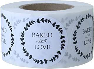 Hybsk Rustic Baked with Love Stickers with Wreath Around 1.5