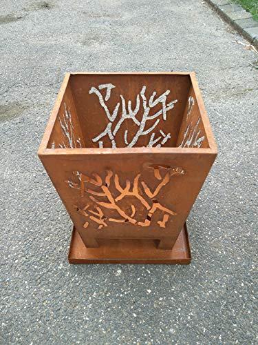 Zen Man patina tuin vuurschaal van metaal roest-look tuin schaal rooster metaal 1mm tuindecoratie H40 * B34 * B25 cm