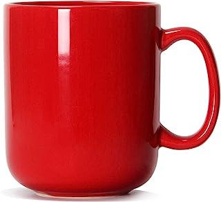 20 OZ Large Coffee Mug, Smilatte M016 Plain Ceramic Boss Big Tea Cup with Handle for Dad Men, Red