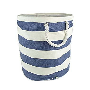 DII Woven Paper Basket or Bin, Collapsible & Convenient Home Organization Solution for Bedroom, Bathroom, Dorm or Laundry (Large Round - 15x20) - Nautical Blue Rugby Stripe