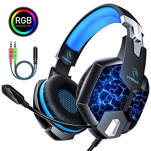 🎧 7 Luces LED RGB: Los auriculares para juegos de YINSAN cuentan con un diseño de iluminación RGB único, destacando la atmósfera del juego. Simplemente conecte el cable USB a su computadora, el LED de 7 colores se iluminará y el color cambiará automá...