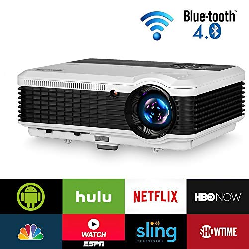 EUG LCD Wireless WiFi HD Projector WXGA Native 4600 Lumens, Bluetooth, Android, 1080P Supoport, LED Multimedia Smart Home Projectors Outdoor Movie Entertainment, Compatible with iPhone TV Stick DVD PC