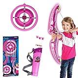 Rolanli Pfeil und Bogen Kinder Emulational Kunststoff Spielzeug mit Licht Schießen Spiel Spielzeug mit 1 Bogen 3 Pfeile 1 Köcher und 1 Ziel