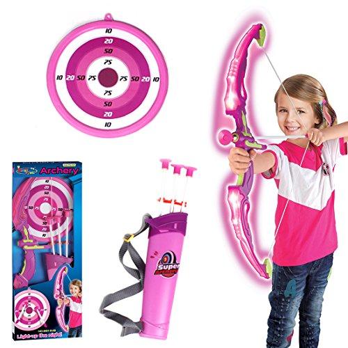 TENGER - Juego de flecha y arco para niños, con arco y diana, juguete de entrenamiento para niños, con flechas y cara objetivo, Rosa., 62*14*5cm