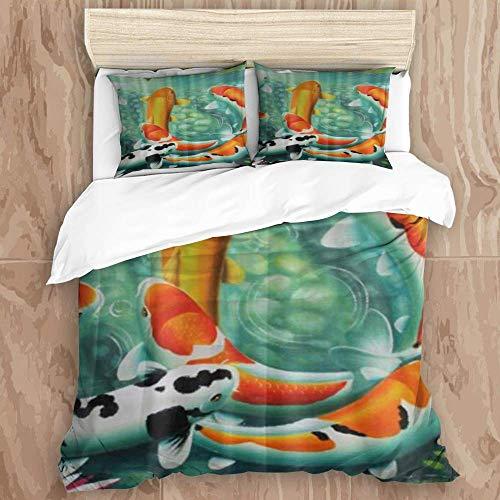 Duvet Cover Set,Awesome Japanese Koi Fish Fancy carp,Decorative 3 Piece Bedding Set with 2 Pillow Shams