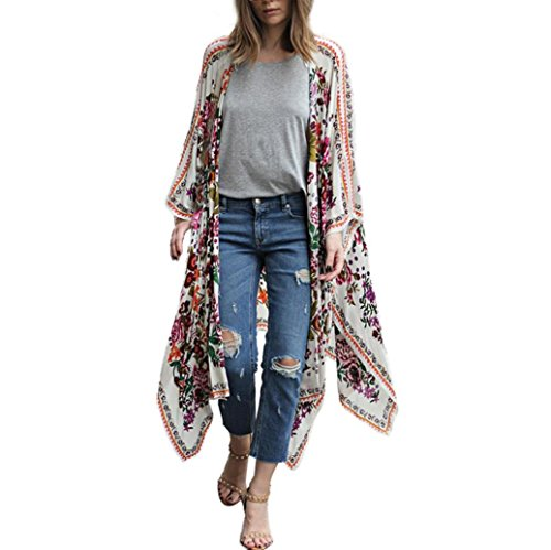 luoluoluo Kimono Copricostume Copri Bikini di Chiffon per Estate Donna,Floreale Cardigan Casual per Estate Vacanza e Party Caftano Donna al Mare (Bianca, S)