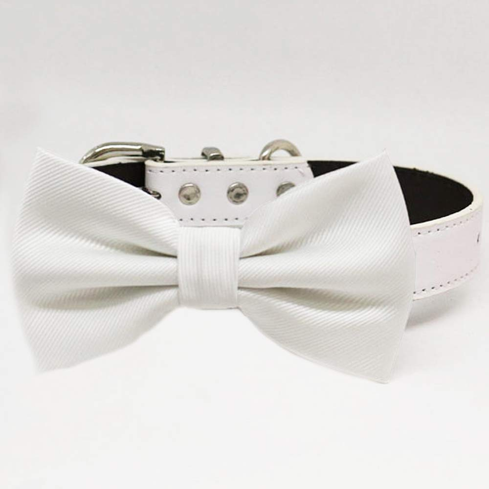 White bow tie collar Genuine dog of honor coll XXL ring to XS bearer Bargain sale