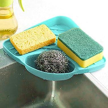 Ninasill Hot ! ღ ღ Sponges Kitchen Sink Corner Shelf Wall Cuisine Dish Rack Drain Boxes (Blue)