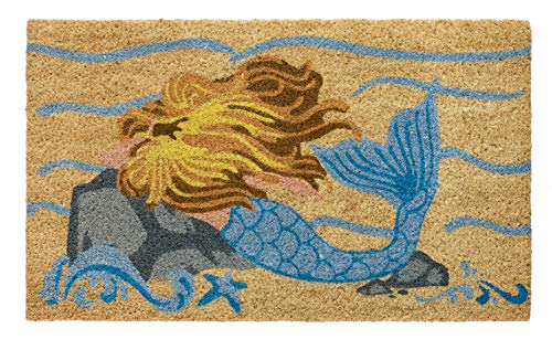 HF by LT Mermaid 100% Coir Doormat, 18 x 30 inches, Naturally Durable, PVC-Backing, Sustainable