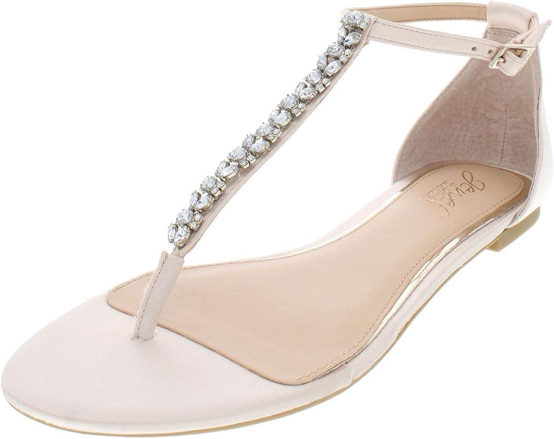 Jewel Badgley Mischka Womens Gabby Satin Flat Sandals Beige 7.5 Medium (B,M)