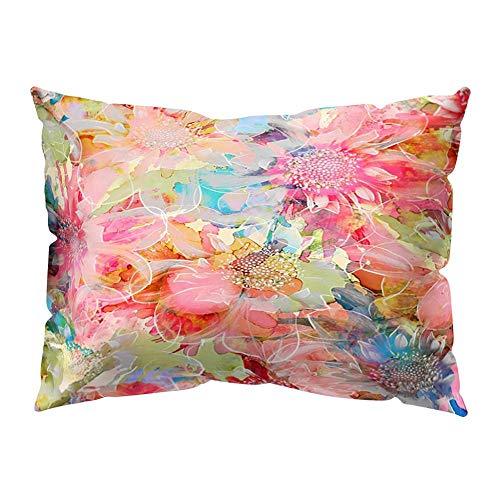 VJGOAL impresión Floral Suave Piel de melocotón Terciopelo Funda de Almohada decoración para el hogar cómodo cojín Cubierta(Multicolor5,30_x_50_cm)